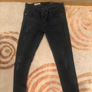 Ag Adriano Goldschmied Jeans - Black distressed AG legging ankle jean